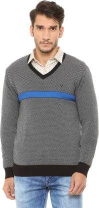 Allen Solly Chevron/Zig Zag V-neck Casual Men Grey Sweater