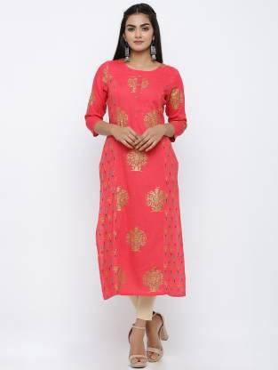 Women Printed Rayon Straight Kurta(Pink)