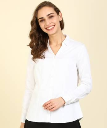 Annabelle By Pantaloons Women Solid Casual White Shirt