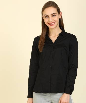 Annabelle By Pantaloons Women Solid Casual Black Shirt