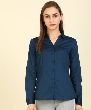 Annabelle By Pantaloons Women Solid Casual Dark Blue Shirt