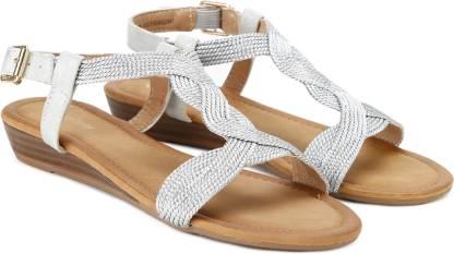 Women Brown, Silver Flats Sandal