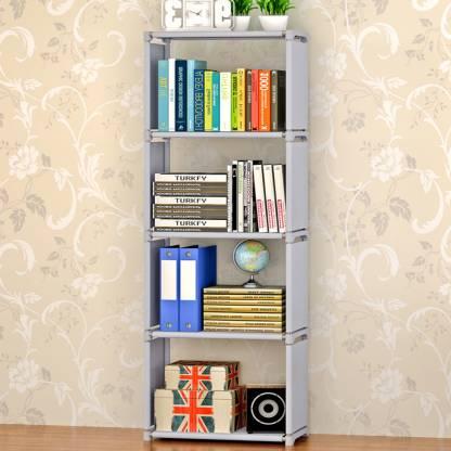 FurnCentral Metal Open Book Shelf Finish Color   Grey