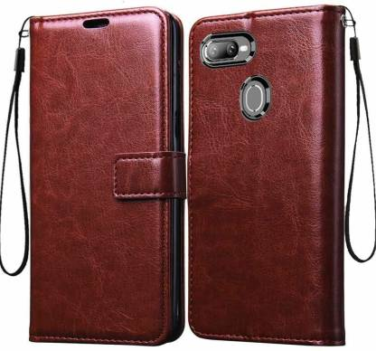 KHR Flip Cover for Realme U1 Vintage Leather with Card Holder /Magentic Closure/Kickstand Flip Case Cover (Brown)