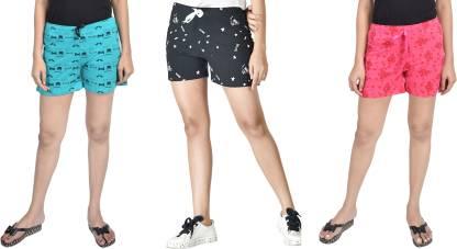 A9 Printed Women Red, Black, Light Green Beach Shorts, Gym Shorts, Night Shorts, Basic Shorts, Regular Shorts, Running Shorts, Hotpants, Cycling Shorts