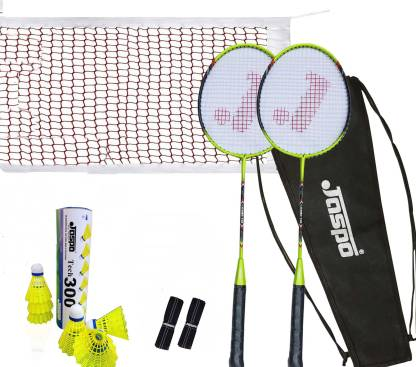 Jaspo Cosmo 100 JOINTLESS Pro Combo With Nylon Shuttle, Grip and Net Badminton Kit