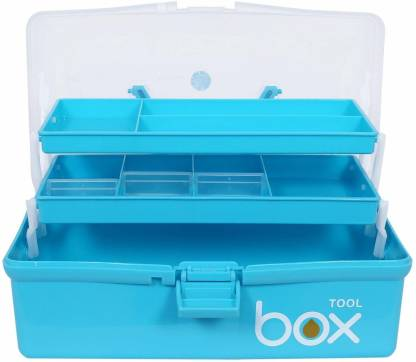 FABB Plastic Portable 3 Layer Compartment Multipurpose Medicine Organizer Family Emergency First Aid Kit Storage Repair Tool Box Case (Blue) Clear Plastic Foldable Storage Box, Multifunction Three Layers Transparent Storage Box, Transparent Tool Box Organizer Container Case with Handle Tool Box Tool Box with Tray