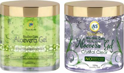 Nuerma Science Crystal Clear Aloe Vera Gel & Cucumber Extracts Aloe Vera Gel (Perfect Moisturizer for Face, Hair & Body) (Pack of 2)