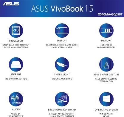 Asus Pentium Quad Core    4  GB/1 TB HDD/Windows 10 Home  X540MA GQ098T Laptop 15.6 inch, Black, 2 kg  Asus Laptops