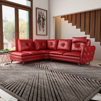 Durian Dominic Red Leather 5 Seater, Dark Red Color Leather Sofa
