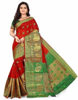 S.B Creation Self Design Banarasi Cotton Blend Saree