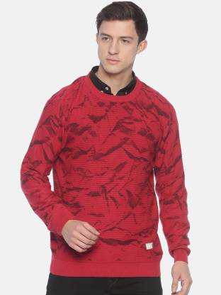 Printed Round Neck Casual Men Red Sweater