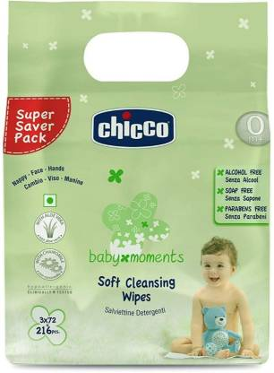 Chicco Soft cleansing wipes Tripack ( 216 pcs) (Sticker pack)