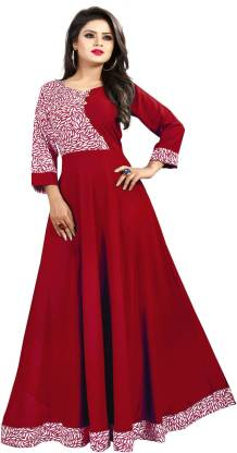 Crepe Blend Stitched Anarkali Gown  (Maroon)
