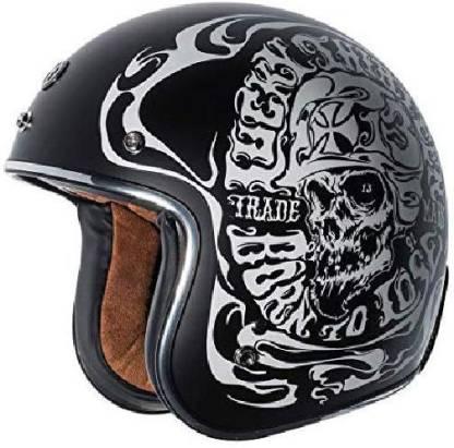 Torc T50 Route 66 Smoke Skull Lucky 13 Open Face Helmet (Flat Black, Large) -- multi Motorbike Helmet