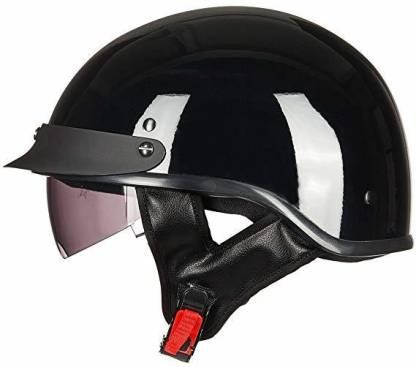 ILM Upgraded Motorcycle Half Helmet With Integrated Sun Visor Quick Release Buckle DO Motorbike Helmet