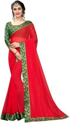 Online Bazaar Solid Bollywood Georgette, Chiffon Saree