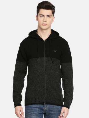 Solid Casual Men Black Sweater