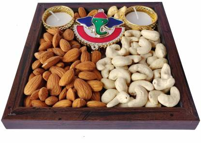 Maalpani Dry Fruits Tealight Candles Gift Hamper for Diwali Festival |50g Dry Fruit , 2 Tealight Candles , Kankavati , Card Hamper Combo Pack | Deepeavali - Bhai Dooj Gift Set Assorted Gift Box  (Multicolor)