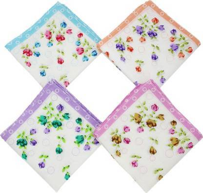 "kiyo premium quality Women's Floral Cotton 30x30 CM Handkerchief (Pack of 4 [""Multicolor""] Handkerchief  (Pack of 4)"