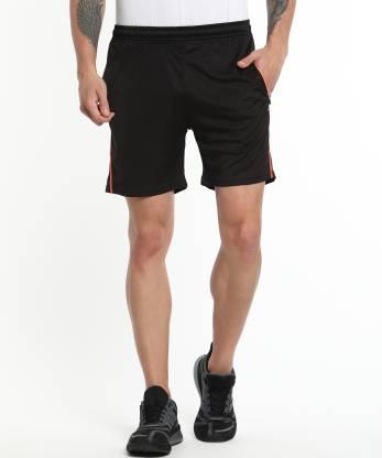 Adrenex Solid Men Black Sports Shorts