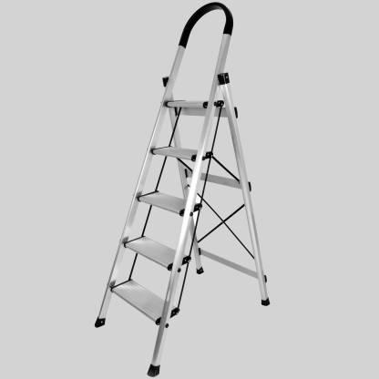 IMPULSE Premium 5 Step Folding Aluminium Ladder for Home Use - Wide Anti Skid Step Ladder(Anodize-Silver) Aluminium Ladder