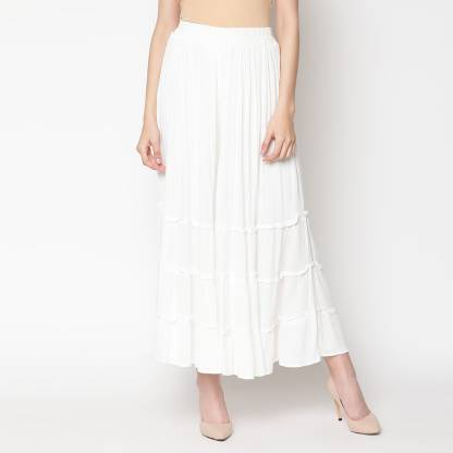 Regular Fit Women White Rayon Trousers