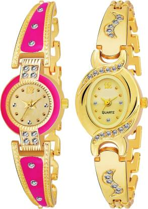 Tmeter Artist Rajwadi Designer Party-Wedding  Pink Women And Girls Combo 2 Analog Watch - For Girls
