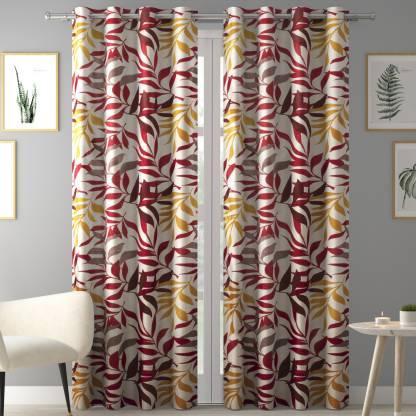 Flipkart SmartBuy 213 cm  7 ft  Polyester Door Curtain  Pack Of 2  Floral, Multicolor  Flipkart SmartBuy Curtains