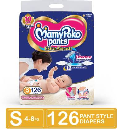 MamyPoko Extra Absorb Diaper - Small Size, Pack of 126 Diapers (S-126) - S