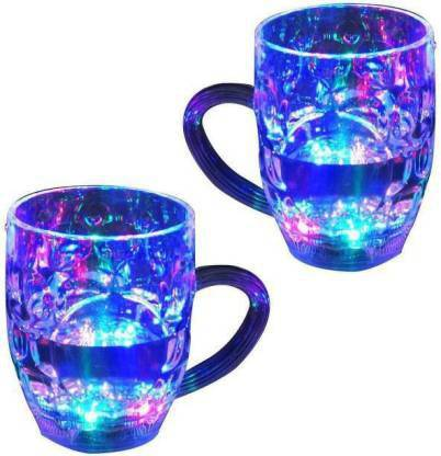 Easy Way Color Cup LED Flashing 7 Color Changing Light, Lighting Cup, Easy battery replace - 2 cups Glass (200 ml, Pack of 2) Crystal Coffee Mug