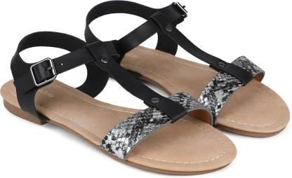 Women Black, Silver Flats Sandal