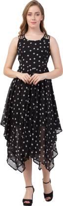 GaurGeous Women Asymmetric Black Dress