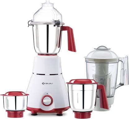 BAJAJ GX 4701 800 W Juicer Mixer Grinder (4 Jars, White, Red)