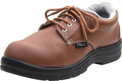 IndCare POLO Industrial & Construction Safety Shoes For Men Steel Toe Synthetic Leather Safety Shoe  (Tan, SB)