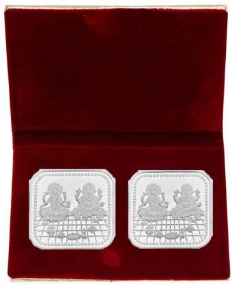 LVA CREATIONS 10 gm/GRAM x 2 Silver Coins = 20 gram 999 bis hallmarked Laxmi/lakshmi ganesh for (Combo of 2) 20 gm 2 coin set for gift in happy birthday & wedding anniversary & Dhanteras diwali. S 999 20 g Silver Bar  (Pack of 2)