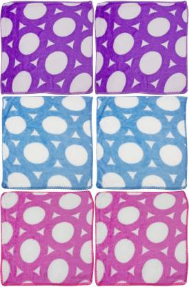 "Neska Moda Women's Floral Cotton 23x23 CM [""Purple"",""Blue"",""Pink""] Handkerchief  (Pack of 6)"
