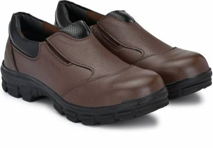 MANSLAM MSL46-Brown Steel Toe Genuine Leather Safety Shoe  (Brown, S1)