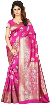 Shoppershopee Self Design Banarasi Poly Silk Saree