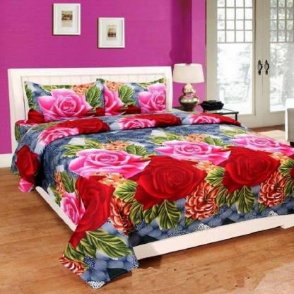 neet enterprises 140 TC Polycotton Double Floral Bedsheet