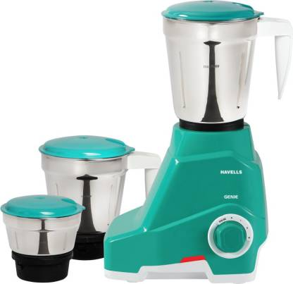 HAVELLS Genie 500 W Mixer Grinder (3 Jars, Green)