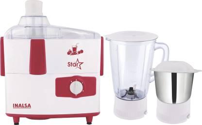 Inalsa STAR 2JAR STAR JUICER MIXER GRINDER 2 JAR 450 Juicer Mixer Grinder (2 Jars, Multicolor, White)