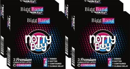 NottyBoy Ribs, Dots, Contour With Delay Effect (3sx4) - 4inOne Condom