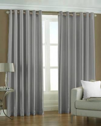 Adimanav 213.36 cm  7 ft  Polyester Door Curtain  Pack Of 2  Plain, Grey  Adimanav Curtains