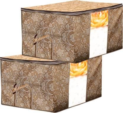 Billion Designer Metalic Printed 2 Piece Non Woven Underbed Storage Bag,Storage Organiser,Blanket Cover with Transparent Window ,Extra Large, Beige BILLION034467