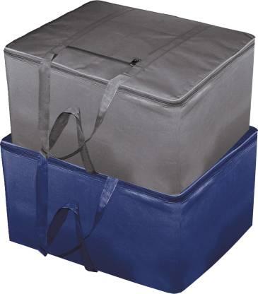 Billion Designer 2 Pieces Rexine Jumbo Attachi Bag Travel Handbag Storage Carrying Bag, Blanket Cover,Duffle,Travel Multi-Purpose Bag (Blue & Grey) BILLION034748