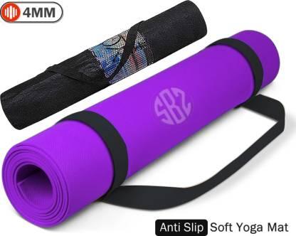 FITBOOZ DOTCOM 4mm Anti Skid Yoga/Exercise Mat with Carry Bag for Men & Women Purple 4mm mm Yoga Mat