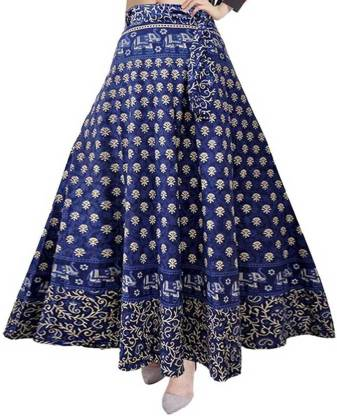 UrbanEra Printed Women Wrap Around Blue Skirt