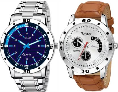 FOXTER Blue White Dial Attractive Combo Pack of 2 Analog Watch - For Men