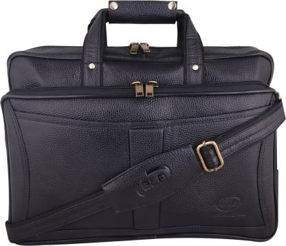 Chiefly Genuine Leather Black Laptop Bag for Men with Padded Laptop Compartment | Everyday Crossbody Shoulder Office Messenger Bag AIBL1581 Waterproof Messenger Bag